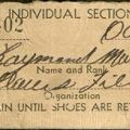 Shoe ticket from Bellows Field at Waimanalo, Oahu, Hawaii, October 13, 1943