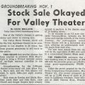 """Newspaper clipping, """"Stock Okayed for Valley Theater,"""" Valley Times, ca. 1962. Nick and Faye Mayo Valley Music Theatre, Inc. Collection."""