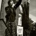 "Nancy, speaking at the Transsexual Menace demonstration in support of high school student Matthew Stickney who wore a skirt to school, was beaten by other students, then put on probation by the school's principal for ""causing disruption,"" Burlington, Vermont, 1996. ""The Gender Frontier, HQ 77.9 .A32 2003"