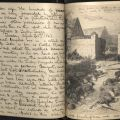 Journal entry, April 21, 1863, and image of fallen Confederate soldiers.