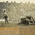Scrapbook page with partial newspaper clipping and photograph of Occidental College football players in action, circa 1920s.