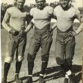 """Scrapbook page depicting """"The House of David"""". Photograph of Occidental College football players, circa 1920s."""