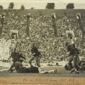 """Scrapbook page with partial newspaper clipping, """"Bengals Roar,"""" and photograph of Occidental College and University of Southern California football players in action at the L.A. Coliseum, 1929."""
