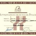 Certificate presented to Vern Bullough by the École des Arts Culinaires ET de l'Hôtellerie Ecully France for a hands on course in French cooking, June 1998