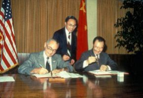 President James Cleary and Chinese Delegation Sign Educational Exchange Agreement, 1981. Photograph by Rick Childs