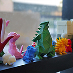 3D printed figures on a windowsill