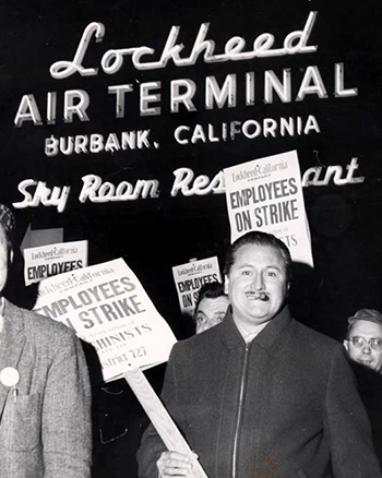 International Machinists on strike at Lockheed terminal in Burbank