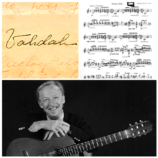 Vahdah Olcott-Bickford signature, guitar music, photograph of Ron Purcell