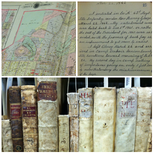Sanborn map, Civil War diary, and shelf of rare books