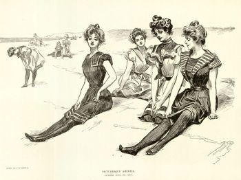 Pin-up drawing of ladies sitting on the beach