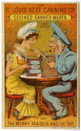 "Characters from the Gilbert and Sullivan opera ""H.M.S. Pinafore,"" sharing a meal of the advertised canned beef."