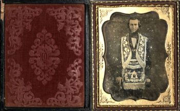 Daguerreotype, man dressed in fraternal organization costume, 1860