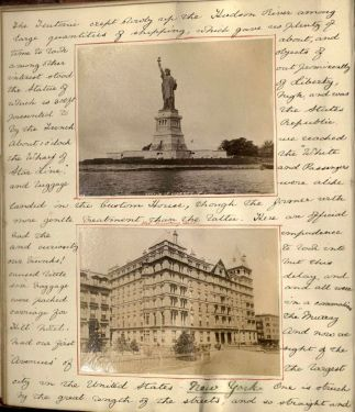 Journal page, Statue of Liberty and Murray Hill Hotel