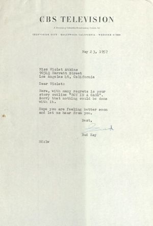 Letter to Violet Atkins from CBS Television