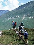 Photo of hikers going uphill