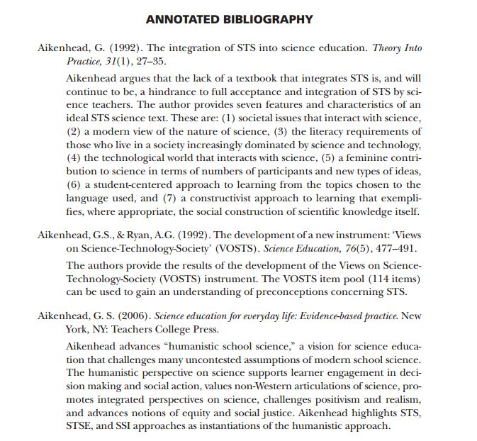 annotated bibliography of a thesis