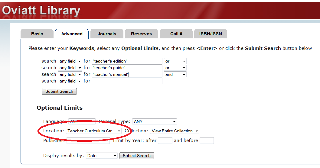 Image of Oviatt Library catalog search for teacher's editions in the TCC