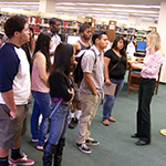 A group of students touring the library