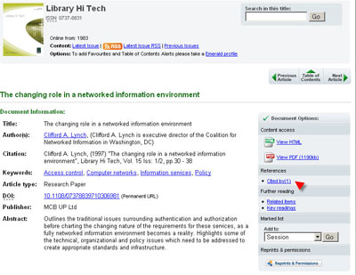 Emerald screenshot of cited by