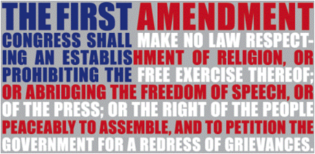 text of 1st amendment on American flag