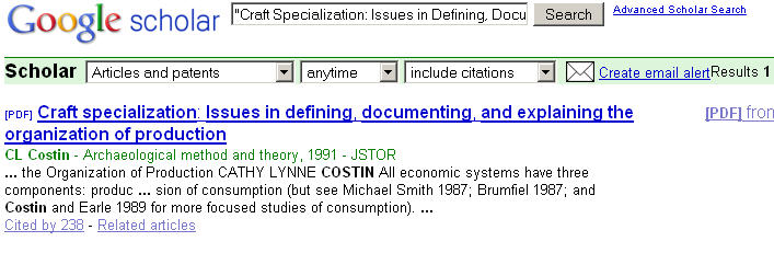 Google Citation Retrieval for CL Costin