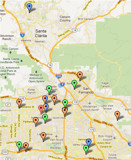 Map of the San Fernando and Santa Clarita Valleys with Schools that Participate in Oviatt Library Resources