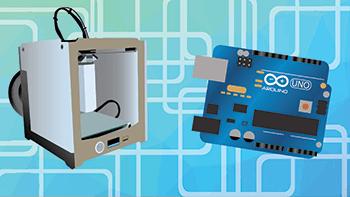 3D Printer and Arduino Clipart