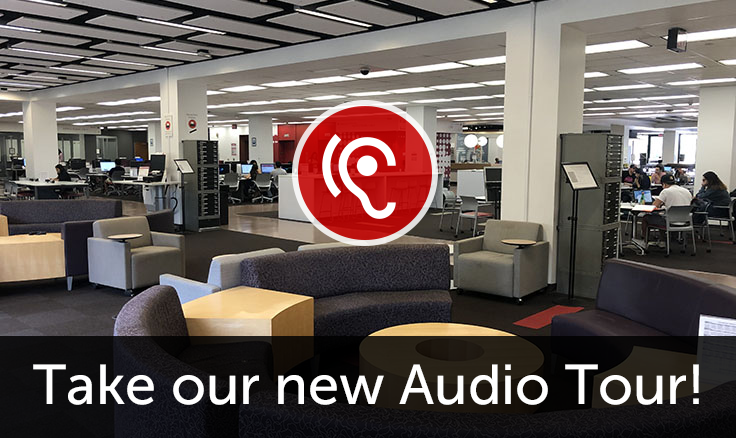 Learning Commons area with words 'Take our new Audio Tour!'
