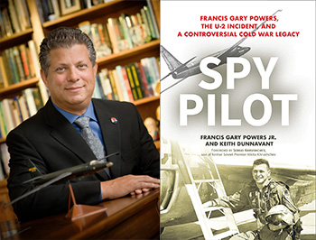 Author Gary Powers Jr, and book cover for Spy Pilot