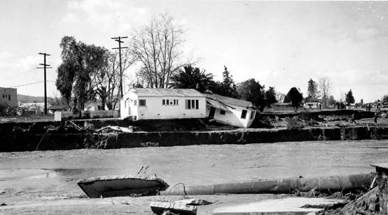 Los Angeles River flood in North Hollywood, 1938