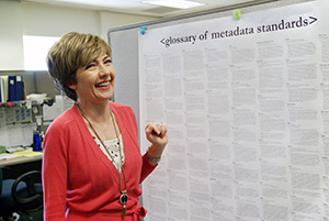 Helen Heinrich, Chair of Collections and Access Management standing in front of a metadata standards poster.