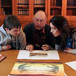Students and faculty in Special Collections