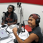 Two students using the Creative Media Studio
