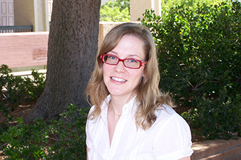Librarian Laurie Borchard in Front of the Oviatt Library