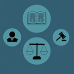 Four circular logos of a book, a human face icon, a gavel, and a scale