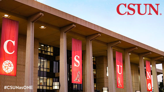 Oviatt Library Zoom Background with Banners
