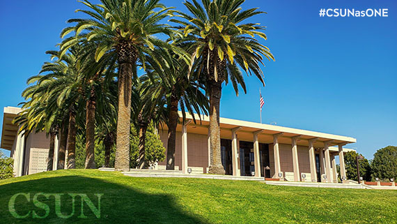 Oviatt Library Zoom Background with Palm Trees from side