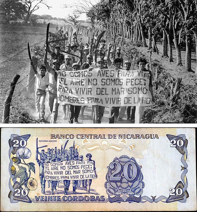Peasants demonstrating for agrarian reform -- original photo and twenty-cordoba bill