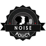 Logo with silhouettes of faces with words Noise Policy