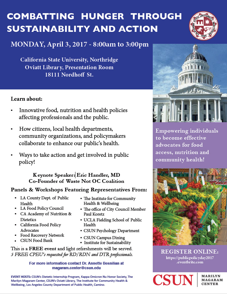 Food, Nutrition and Health Public Policy Event Poster