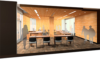 Artist's Sketch of the New Special Collections Space