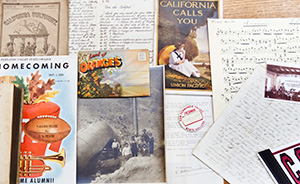 Various materials from Special collections, old homecoming fliers, Land of Oranges postcard, etc.
