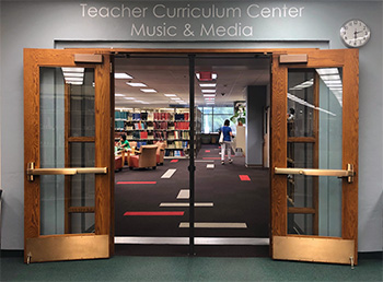 Entrance to the Teacher Curriculum Center and Music & Media at the Oviatt Library