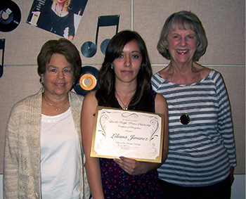 Carol Turner, scholarship winner Liliana Jimenez and Betsy Stelck