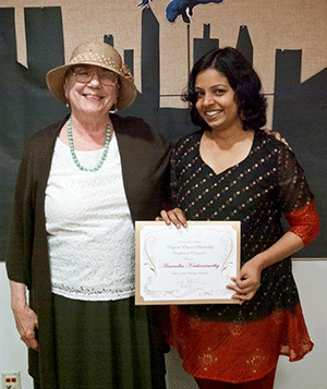 Virginia Elwood-Akers with Anuradha Krishnamurthy, 2014 winner of the Virginia Elwood-Akers Scholarship