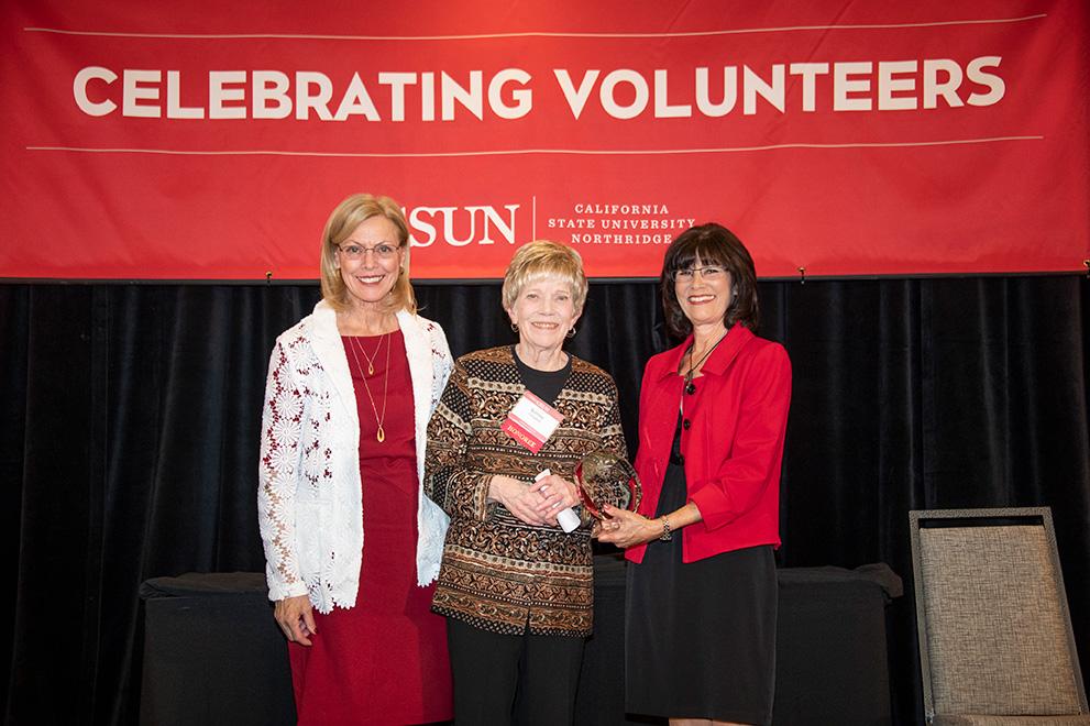 CSUN President Diane F. Harrison, Bonita J. Campbell, Alumni Association President Cindy Chernow