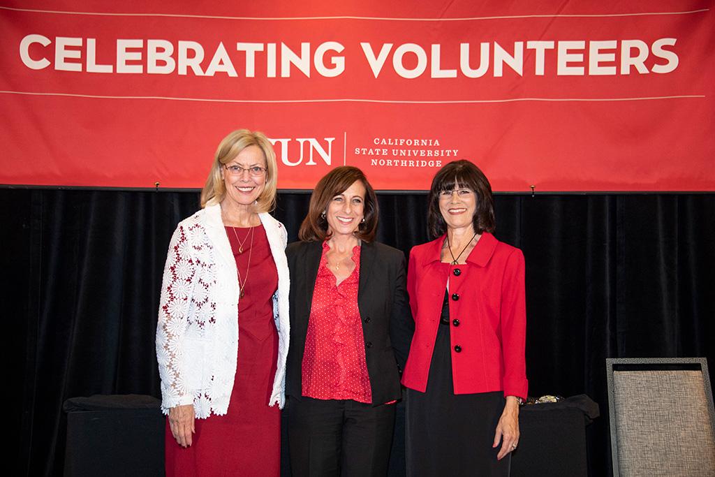 CSUN President Diane F. Harrison,  Laurene Abato-Earwood, Alumni Association President Cindy Chernow