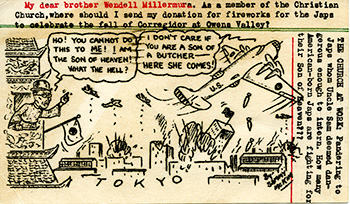 Backside of postcard with cartoon of U.S. plane bombing Tokyo and an angry Japanese citizen reacting
