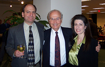 Dickens Dinner, Oviatt Library, November 21, 2003.  Harry Stone (center) pictured with son Jonathan and daughter Ann.