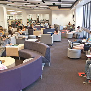 Students Enjoying the New Learning Commons at the Oviatt Library